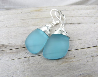blue seaglass earrings  cultured beach glass jewelry  bridesmaid earrings Pacific Ocean blue