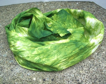 green silk scarf Hand Painted scarf tie dyed scarf women's silk accessories sash belt neck tie head band