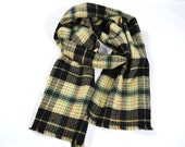 Men's Plaid Winter Scarf 100% Cotton Soft Warm Flannel Beige Black Long Fringed
