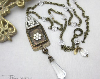 Mixed Media Necklace - Vintage Rhinestone Necklace - Soldered Bezel Necklace - Long Neckace