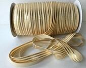 "Cream with Gold Foil Stripes FOE gold metallic Fold Over Elastic  Shiny FOE 5/8"" inch Baby Headbands Hair Ties Satin Elastic FOE"