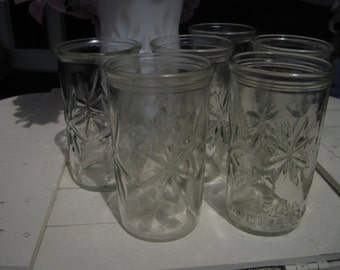 8 Vintage Ball  Jelly Jars,  Juice Glasses, Star Jar