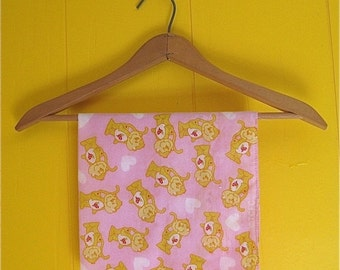 on sale Hearts and Monkeys Cute 1980's Bandana Pink and Yellow
