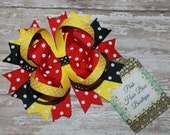 Minnie inspired Boutique Hair Bow - Red Black and Yellow Hair Bow - 5 inch Hair Bow - School Bow - Boutique Stacked Hair Bow - Birthday bow