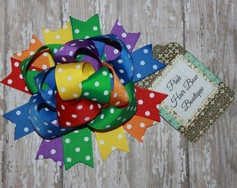 Rainbow Hair Bow - Funky Hair Bow -  5 inch Hair Bow - Birthday Hair bow - Rain Bow Bow - Over the Top
