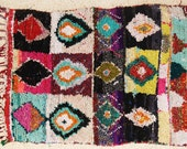 FREE SHIPPING WORLDWIDE L24004 vintage boucherouite rug, moroccan rugs , rag rug, berber tribal art, morocco carpets, wall art