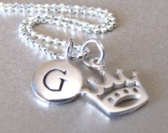 Silver Initial & Crown Charm Necklace - Initial Necklace - Crown Necklace - Personalized Jewelry