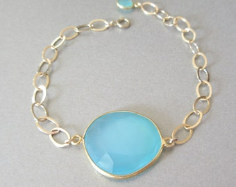 Aqua Chalcedony Gold Bracelet - Gold Bracelet - Gemstone Bracelet