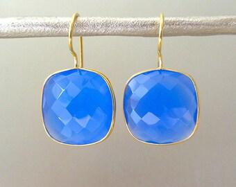 Blue Chalcedony Gemstone Earrings - Gemstone Earrings - Drop Earrings - Bridesmaid Earrings