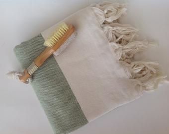 valentine's day , Elegant Organic Turkish Towel, Peshtemal, bath, spa, hammam, Natural Sof cotton , father's day, Handwoven, Green