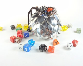 Dungeons And Dragons Large Dice Bag Scalemaille And Chainmaille Aluminum - SKDB-SC-L-SV