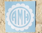 Monogram Scallop Frame Decal, Scalloped Circle Decal, Scalloped Circle Monogram Decal, Circle Monogram Decal