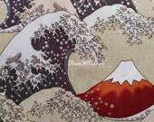 Snow on Mount Fuji, beige, 1/2 yard, silver metallic, pure cotton fabric