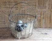 Vintage Wire Egg Basket, Metal Basket, Easter Basket, Farm Basket