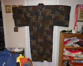 RESERVED DanaABSTRACT MENS   Vintage Japanese Yukata cotton Kimono   Brown, Milk Chocolate, Putty  Measurements below