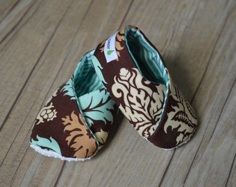 Baby Booties - Brown and Teal