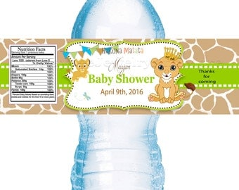 Lion King  Baby Shower water bottle labels-Baby Shower Labels-Water Bottle Labels