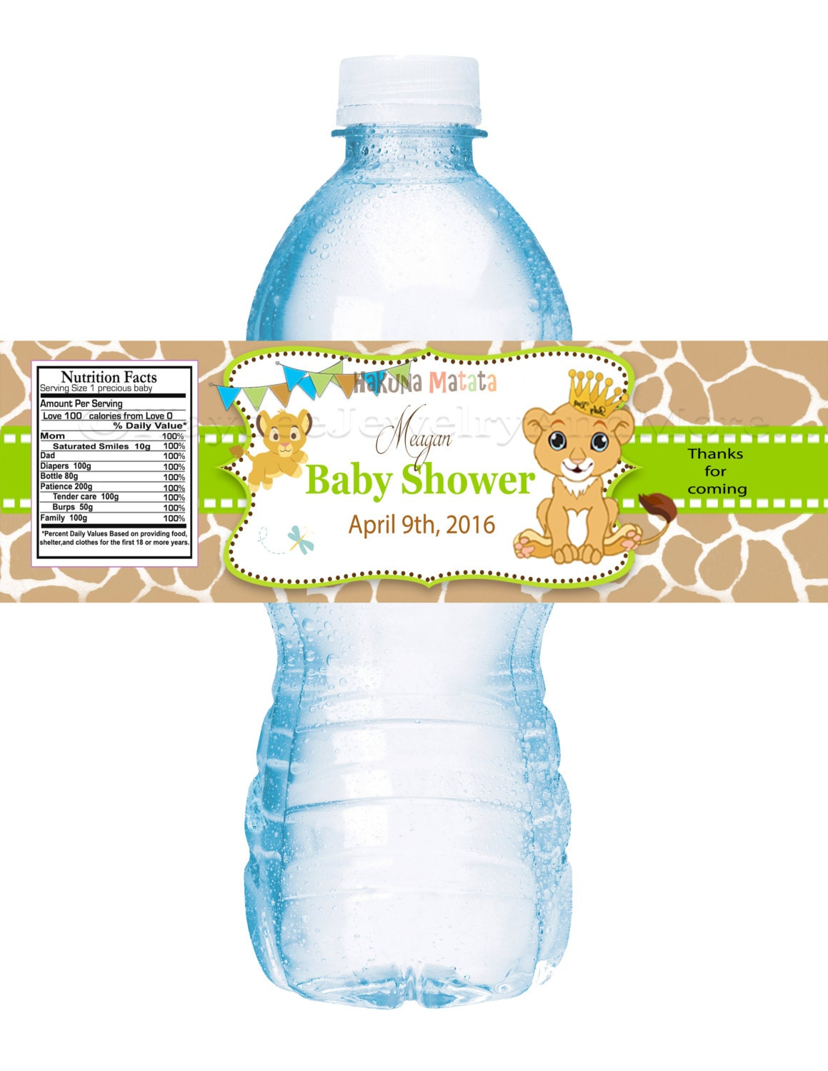 Lion King Baby Shower water bottle labels-Baby Shower