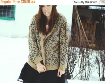 SALE Vintage 80's Khaki Cardigan /abstract Knitted Sweater