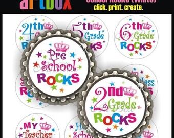 ON SALE School Rocks (White) Bottle Cap Images - 4X6 Digital Collage Sheet - BottleCap 1 Inch Circles for Pendants, Hair Bows, Magnets, Badg