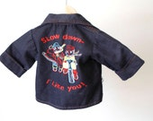 vintage BOYS blue denim BIKER jean jacket children's coat bike bicycle pullover 24m 2T