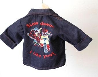vintage BOYS blue denim BIKER jean jacket children's coat bike bicycle pullover 24m 2T