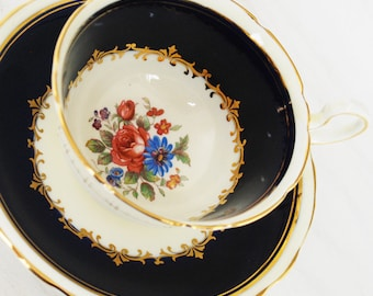 Aynsley Teacup and Saucer, Cobalt Blue and Cream Floral