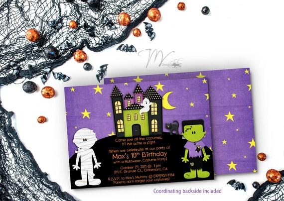 Halloween Haunted House, Kids Halloween Costume Party Invitation, Halloween Birthday Invitation, Mummy Costume Party Invitation