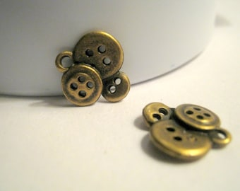 10 Antique Bronze Three Button Charms Jewelry Supplies