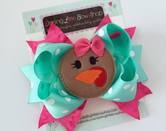 Turkey Bow -- Thanksgiving Bow -- Posh Turkey -- aqua and hot pink ribbons with large turkey center -- optional headband