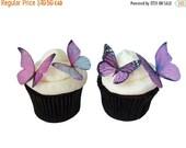 CHRISTMAS in JULY SALE Wedding Cake Topper - Edible Butterflies in 24 Prettiest Purple - Cupcake Toppers, Butterfly Cake Decorations