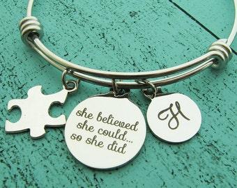 special education teacher gift, autism awareness bracelet, special ed teacher, encouragement, gift for teacher, teacher appreciation gift