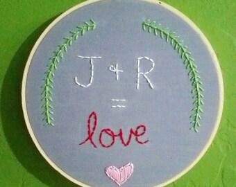 "Embroidery Hoop Art Wall Hanging 7"" - Custom Initials Love Equation"
