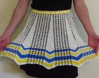 Vintage Crochet Apron 1950s White Blue Yellow Striped Hem Cotton Lace Crocheted