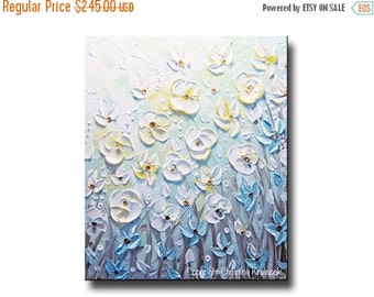 SALE 20% ORIGINAL Art Abstract Painting White Flowers Wall Art Modern Home Decor Pale Green Blue Yellow Poppies Textured Gift READY to Ship
