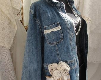 Jean jacket with lace, roses, jute, gypsy boho, bohemian, upcycled, recycled, shabby romance