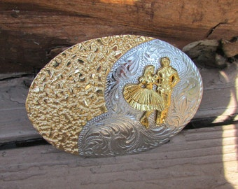 Square Dancers Large Belt Buckle in gold and silver