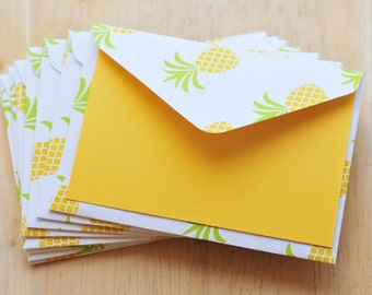 Pineapple Mini Cards // Set of 4 // Blank Cards // Enclosure Cards // Gift Card Envelopes // Love Note // Tropical Cards // Party Favor