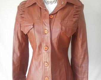 GROOVY vintage 70's cognac brown leather jacket SM