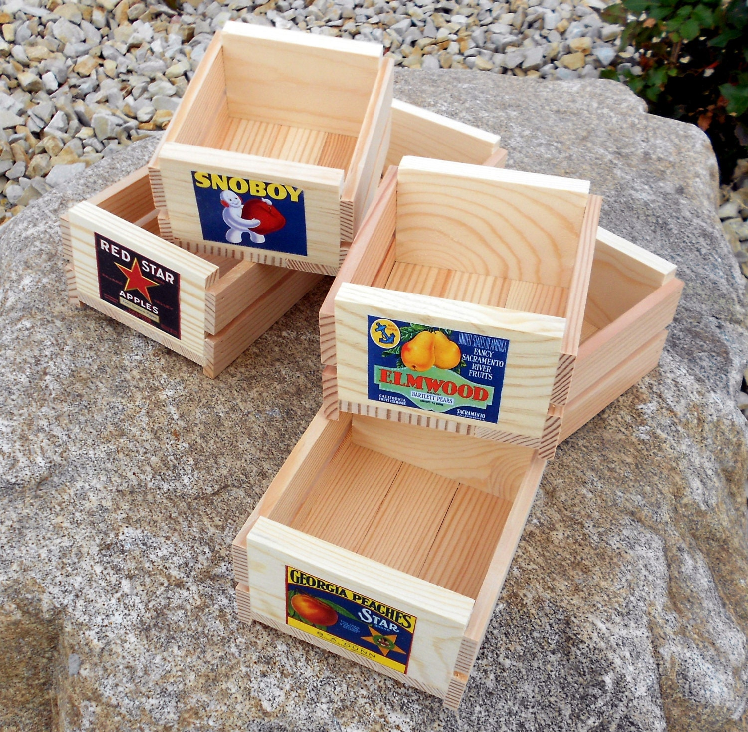 set of six small wooden fruit crates