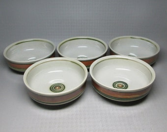 Iron Mountain Stoneware Whispering Pines pattern set of 5 bowls , soup cereal size .