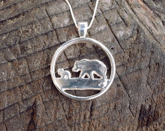 Momma Bear Pendant sterling silver / animal jewelry mothers day gift for her Wife New Mom native american boho whimsical animal nature lover