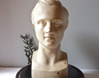 1930 RARE Antique French Plaster Bust Sculpture of Young Man industrial Style Faculty of Medicine PARIS