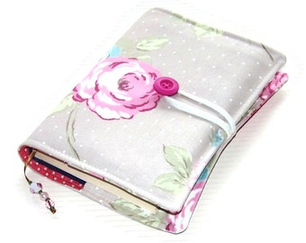 Handmade Book Cover, Fabric Bible Cover, English Rose Taupe, UK Seller, Made in Britain