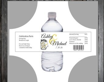 Mason Jar with Daisies 100 water bottle labels - Wedding favors