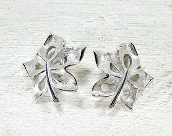 Vintage Silver Leaf Earrings, Maple Leaf Earrings, Brushed Silver Earrings, Clip-on Earring, 1950s Costume Jewelry, Mothers Day Gift for Mom