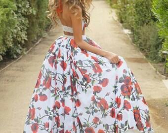 Rose dress, two piece red rose garden dress