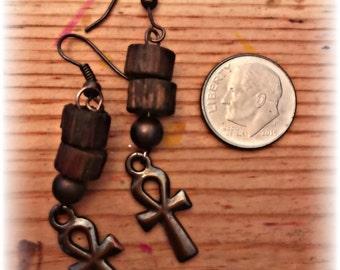 Copper Ankh Earrings
