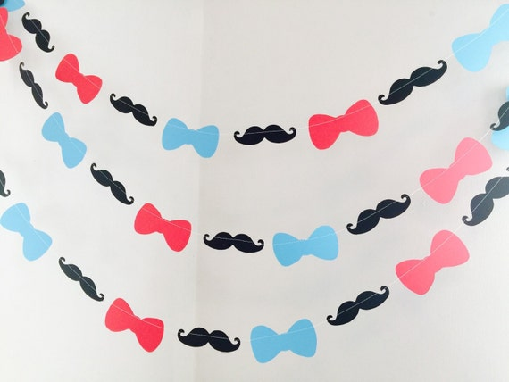Mustache Bowtie Baby Shower Decorations