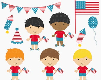 4th of july clipart clip art american america - 4th of July Boys Digital Clipart
